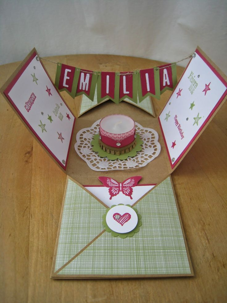 Fabric and stamp: Explosionsbox for birthday