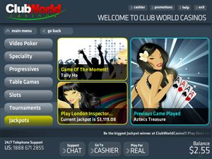 Club World Casinos - Largest USA facing Online Casino. Slots, Poker, Craps, Live Roulette, 21 games, and Tournaments.