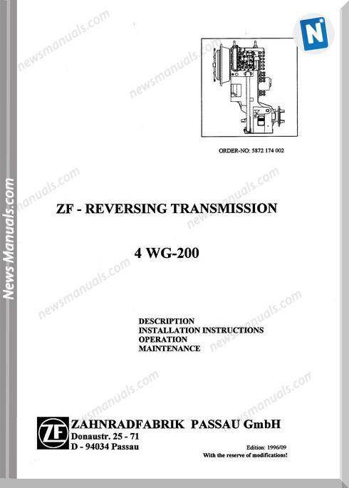 Zf Revesing Transmission 4Wg-200 Repair Manual   Repair Manual
