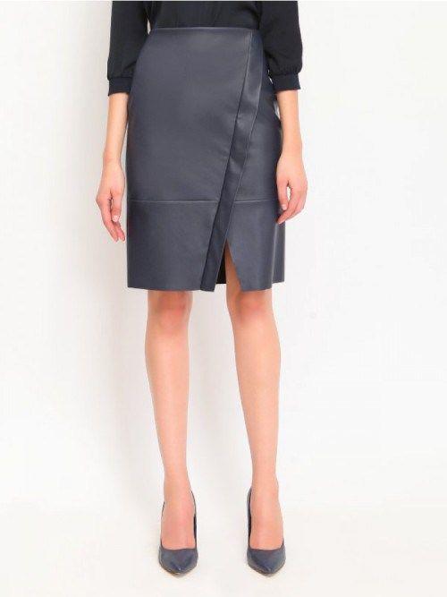 Γυναικεία pencil φούστα με όψη δέρματος
