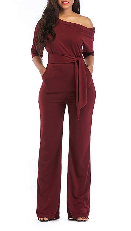 2f3502953514 ONLYSHE Women s Sexy One Off Shoulder Jumpsuits Wide Leg Long Romper Pants  with Belt Wine Red X-Large