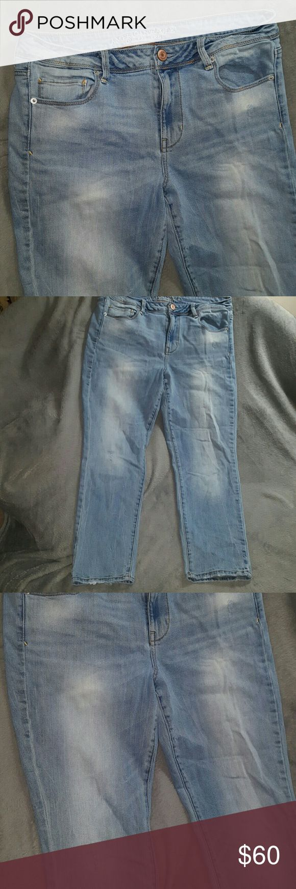 1 HR SALE ~ SUPER SKINNY Jeans NWOT American Eagle SUPER SKINNY Light Wash Jeans ~ New without Tags ~ American Eagle ~ Size 14 short ~ 99% cotton 1% spandex. Slight distress style as purchased. Perfect Skinny Jeans even if you need a regular length, as the hot style is cuffing the bottoms as in the fashion magazines. Number 1 favorite style of American Eagle jeans! I ship daily (#B1 location) American Eagle Outfitters Jeans Skinny
