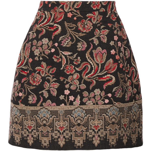 Valentino - Embroidered Cotton-blend Canvas Mini Skirt (11,465 MXN) ❤ liked on Polyvore featuring skirts, mini skirts, valentino, black, multi colored skirt, colorful skirts, multicolor skirt and embroidered mini skirt