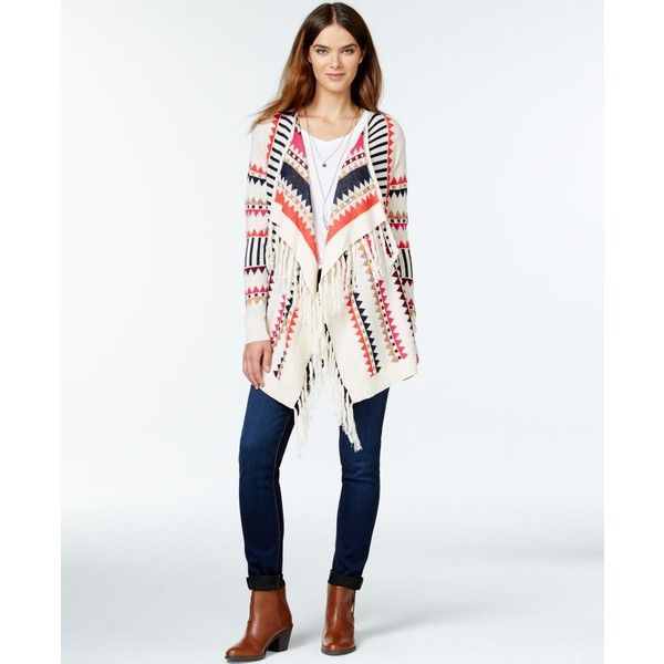 kensie Fringed Aztec-Print Cardigan ($99) ❤ liked on Polyvore featuring tops, cardigans, heather latte combo, aztec cardigan, aztec print cardigan, white cardigan, aztec-print tops and kensie tops