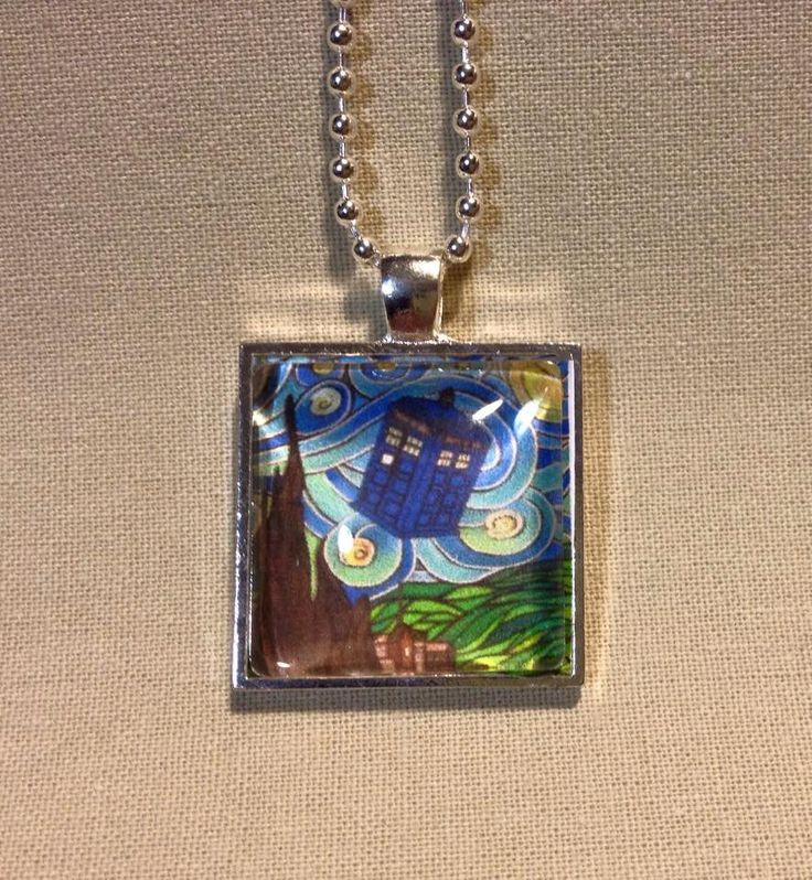 Doctor Who Tardis Van Gogh Art Pendant and Chain Necklace- Original Painting and Beveled Glass by TypeWright on Etsy