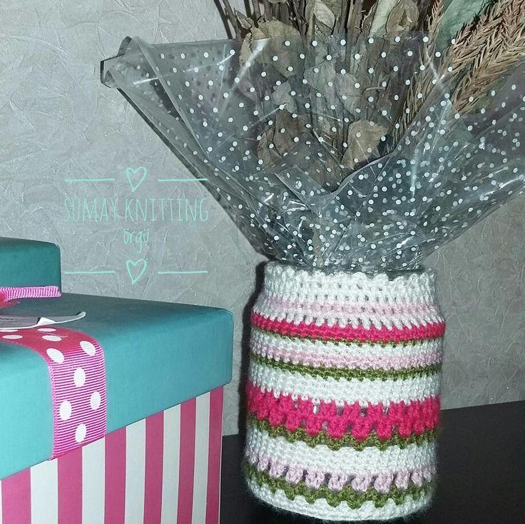 Orgu kavanoz susleme - crochet cover for a jar
