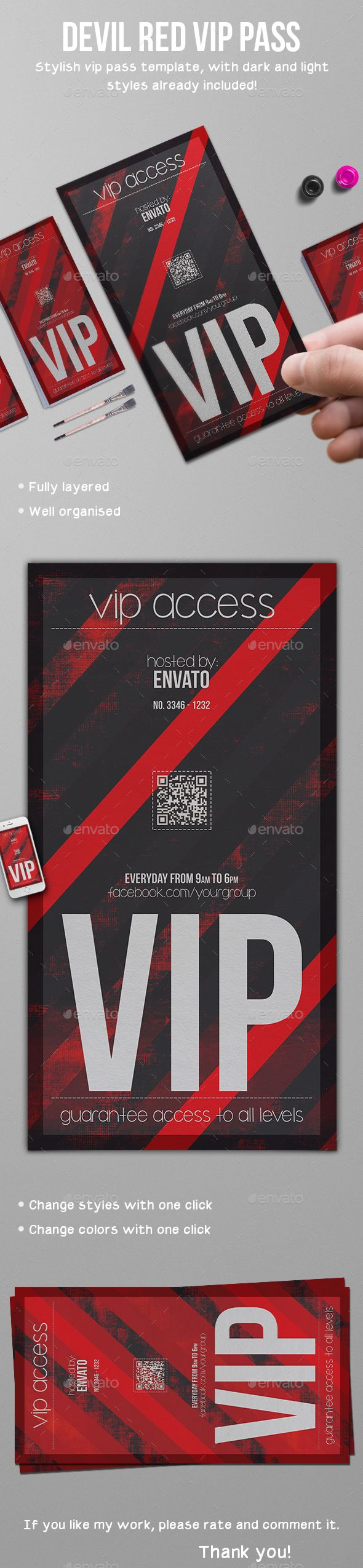 Devil Red Vip Pass Template PSD. Download here: http://graphicriver.net/item/devil-red-vip-pass-template/16215271?ref=ksioks