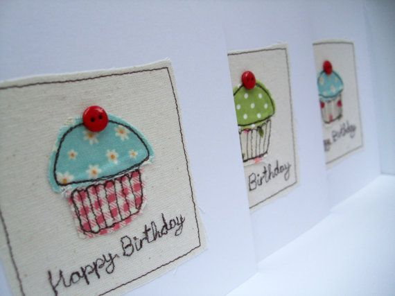Cupcake Birthday Card - Embroidered Cupcake with Button Cherry
