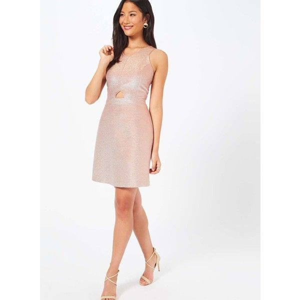 Miss Selfridge Rose Gold Glitter Dress ($29) ❤ liked on Polyvore featuring dresses, rose gold, white cocktail dress, cut out cocktail dresses, metallic dress, white metallic dress and metallic cocktail dress