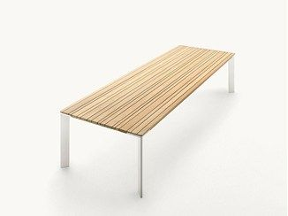 Rectangular wooden garden table SUNSET | Rectangular table - Paola Lenti