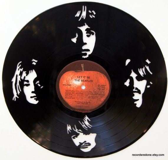 The Beatles Silhouette Hand Cut Vinyl Record Things