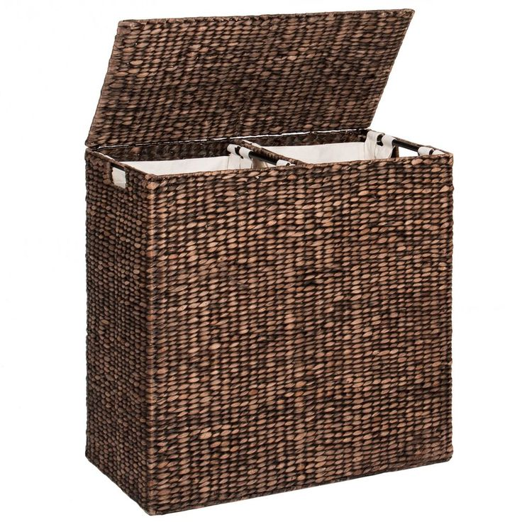 Double Laundry Hamper Basket W/ 2 Liner Bags Clothes Storage Organizer Sorter #BestChoiceProducts