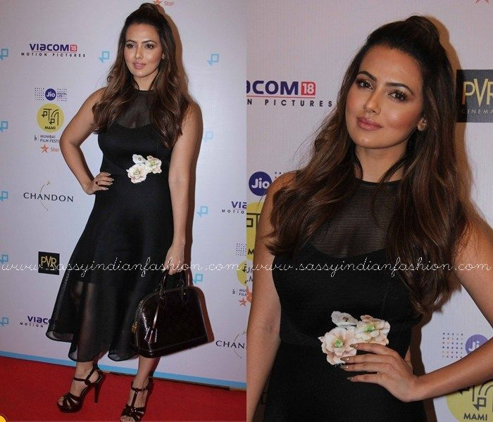 Sana Khan in Black Dress, Sana Khan Black Outfits, Sana Khan Style, Sana Khan Dresses.