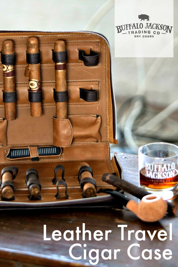 The ULTIMATE TRAVEL CIGAR CASE. 100% full-grain leather, adjustable interior leather straps (fits 10 cigars), 2 removable magnetic leather pouches for lighters and cigar cutters, removable humidifier.