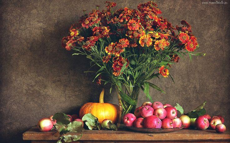 Kompozycja, Kwiaty, Bukiet, Jabłka, Dynia