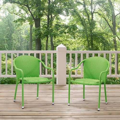 Palm Harbor Green Outdoor Wicker Stackable Chair, Set of 2