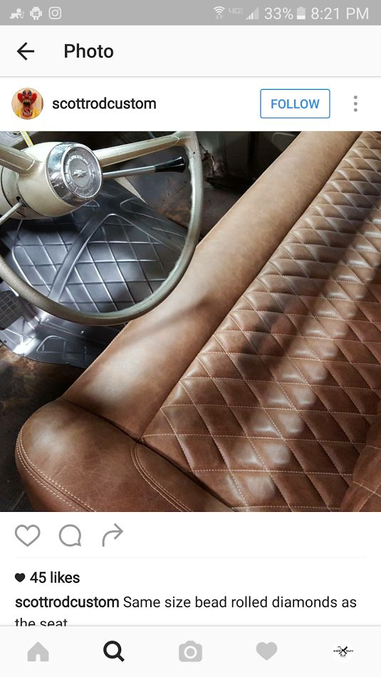 Diamond Pattern Glove Leather Bench Seat With A Matching Bead Rolled Trans Cover Pic 1