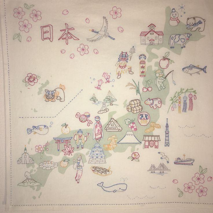 Embroidered Japanese Map- Hobbyra Hobbyre