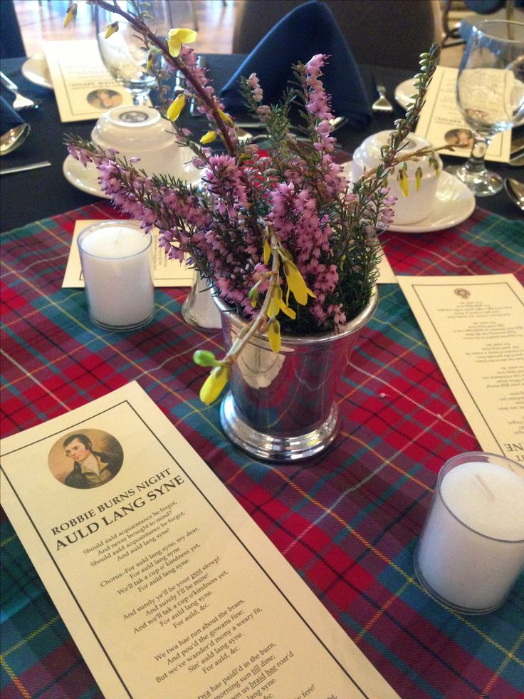 Table arrangement for Robbie Burns Supper 2013.