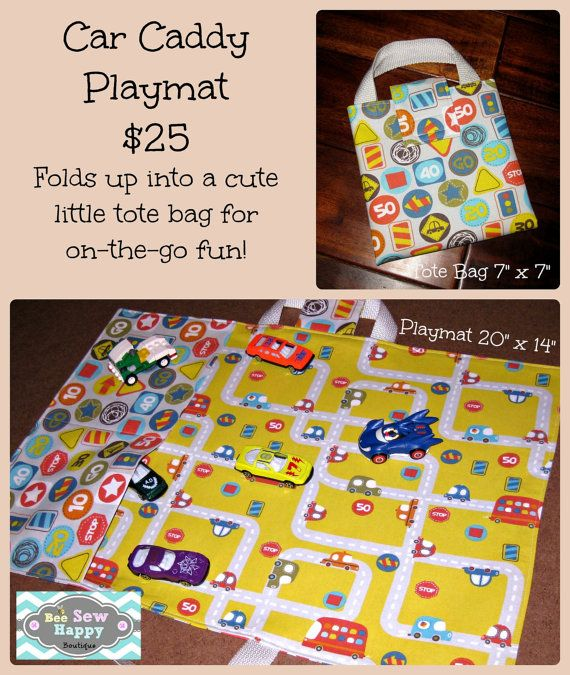 Car Caddy  Playmat Car Carrier Car Roll by BeeSewHappyBoutique
