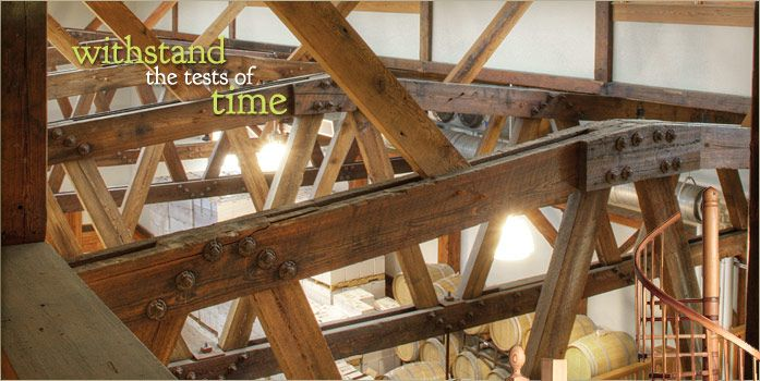 Reclaimed Heart Pine Trusses In The New Kent Winery