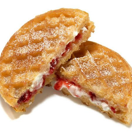 Breakfast Grilled Cheese: Frozen waffles spread with cream cheese & strawberries