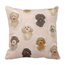©LabraDoodleFriends | Rococo dog painting design Throw Pillows