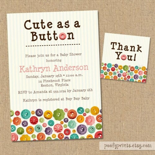 cute as a button baby shower invitations diy printable invitation