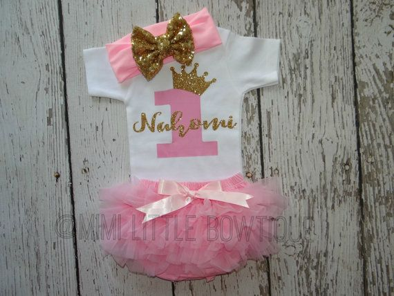 Personalized First Birthday outfit Pink and by MimiLittleBowtique