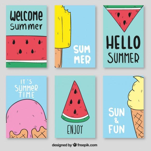 Melancia e sorvete posters Vetor grátis