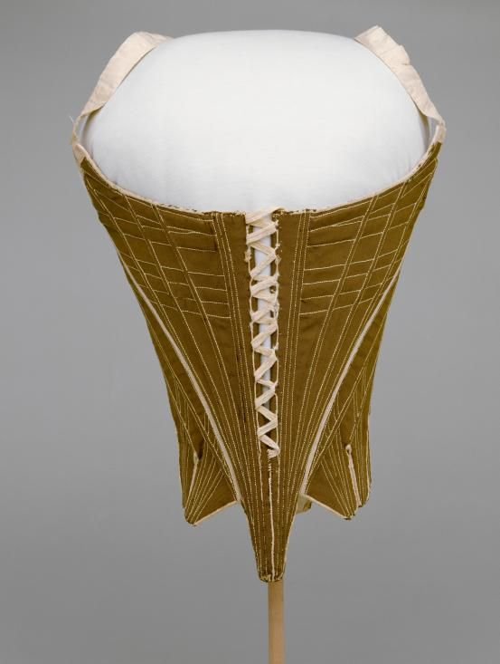 Stays, Scotland, 1770-1780. Gold-brown silk, baleen.