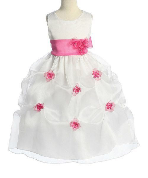 Take a look at the White & Fuchsia Organza Pick-Up Dress - Toddler & Girls on #zulily today!