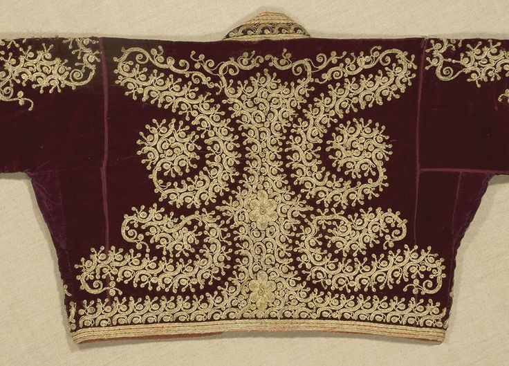 Ottoman Lady's Jacket from Turkey, Circa 1900. Gold couched embroidery on dark red velvet.