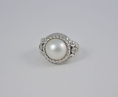 Judith Ripka Sterling Silver Mabe Pearl & Diamonique Ring Size 5