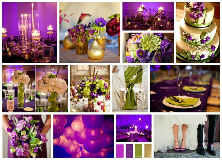 Fuchsia Purple, Plum, Lime/ Olive Green And Gold