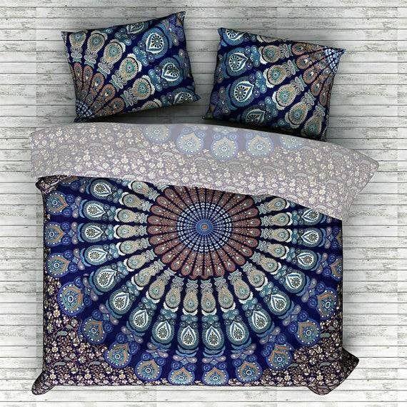 Indian Mandala Duvet Cover Queen Size Doona Quilt Cover Cotton Etsy Mandala Duvet Cover Hippie Bedding Mandala Pillows