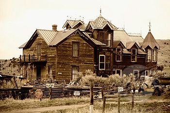 SuperStock - Facade of an abandoned house, Ghost Town, Virginia City, Montana, USA