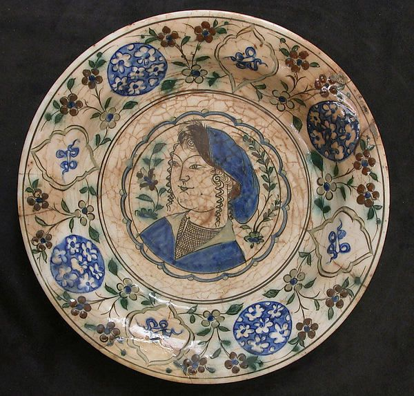 Dish Depicting a Woman Bust and Floral Decoration. Date: first half 17th century Geography: Iran