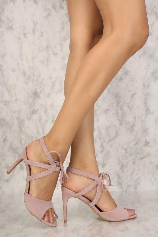 fa9626bfa70 Sexy Dusty Pink Single Sole Open Toe Ankle Tie High Heels