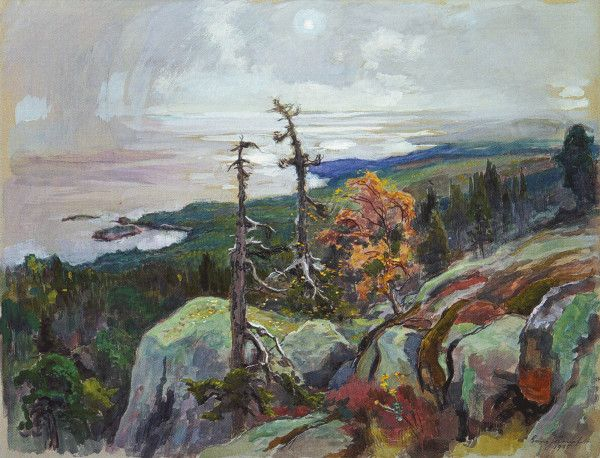"""""""Koli"""" (1935)Eero Järnefelt - Erityisesti kaskenkaatokuvaus Raatajat rahanalaiset on saanut keskeisen aseman suomalaisessa maalaustaiteessa. Kansankuvauksen ohella Järnefeltiä kiinnostivat 1890-luvulla myös pienet luonnonkuvat ja maisemat.Hän ihaili erityisesti Kolin kansallismaisemaa,jota hän vuodesta 1892 lähtien toistuvasti kuvasi; tunnetuin Järnefeltin Koli-aiheista on laaja panoraamanäkymä Syysmaisema Pielisjärveltä (1899, Ateneum)."""