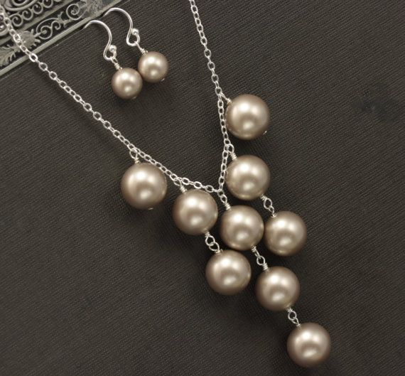 Bridesmaid Necklace Pearl Wedding Party Jewelry by LizardiBridal, $49.00