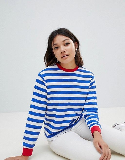 25d708fe DESIGN t-shirt with long sleeve in stripe with contrast collar and cuffs |  Cloths Wish List | Pinterest | Contrast collar, Clothes and Wardrobes