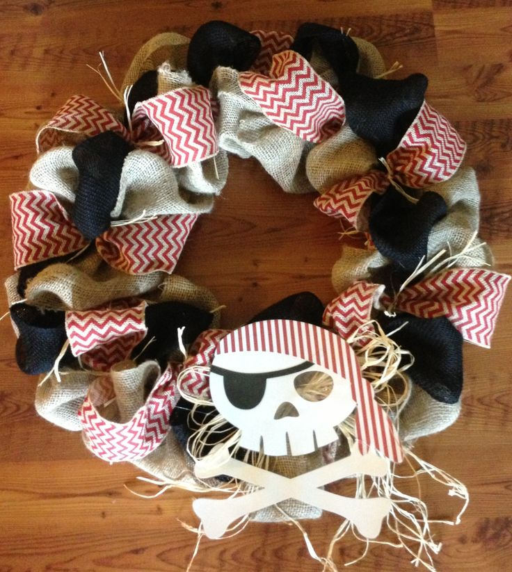 Pre-K pirate themed burlap wreath I made