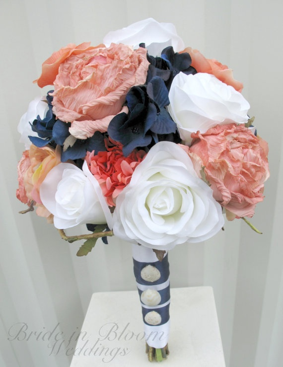 Beach+Coral+Navy  ~Wedding bouquet coral navy white rose by BrideinBloomWeddings, $120.00 @Four Seasons Bridal