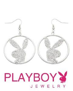 Licensed Playboy Bunny Jeweled Hoop Earrings Sexy Cute Fashion Authentic Jewelry
