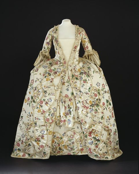 1770s_V silk satin hand-painted silk satin