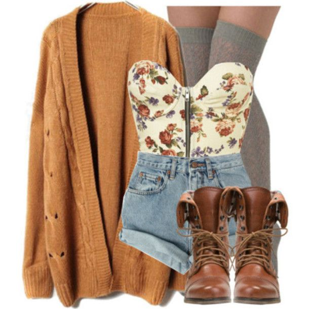 tank top oversized cardigan corset top crop tops high waisted short combat boots knee high socks brown combat boots fall outfits cute outfits sweater shoes shorts floral cardigans fall sweater socks tshirt