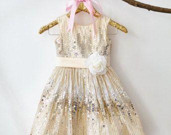 Champagne lentejuelas flor chica vestido Junior Dama de honor boda vestido de fiesta M004