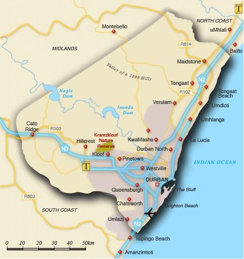 Map of eThekwini-Durban