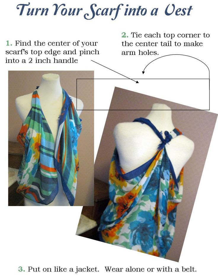 Some of my friends have asked me how I do this...here you go: How to tie a scarf into a vest. PS:  the scarf has to be quite large, and the size needed greatly depends on your stature. Have fun trying different ones.  Generally, it needs to be at least as long as your arms from fingertip to fingertip outstretched. The width of the scarf will determine how far the vest hangs down.